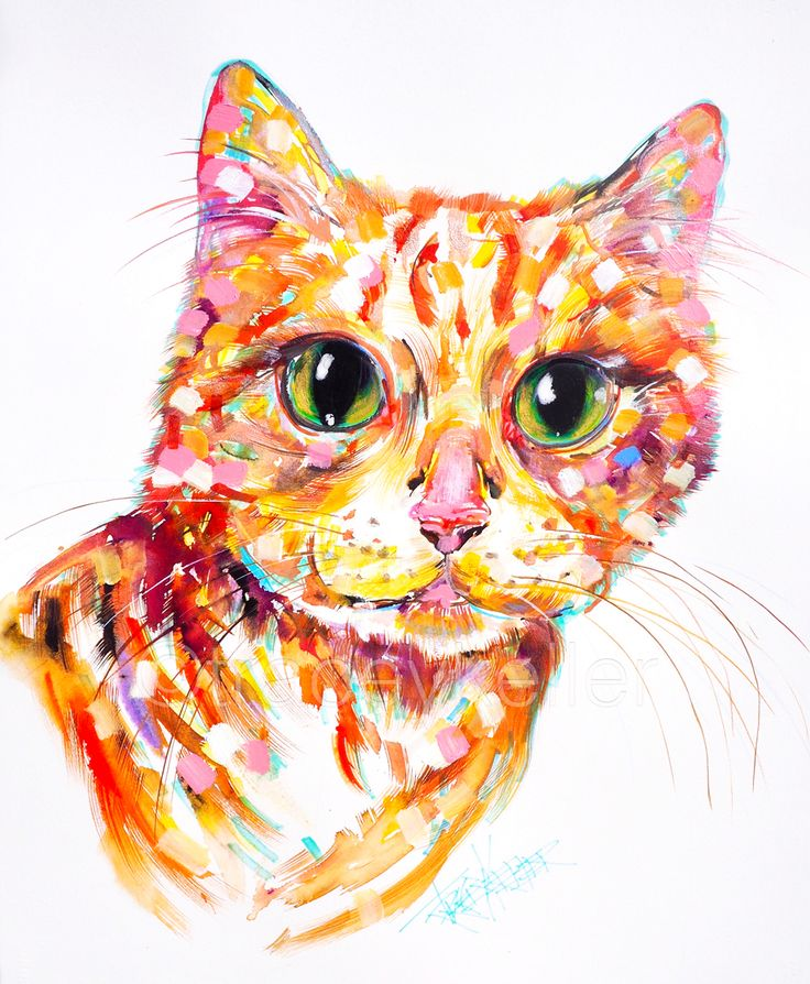 Orange Cat pet portrait painting