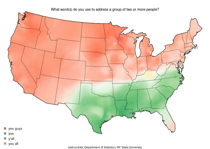 22 Maps That Show How Americans Speak English Totally Differently From Each Other: Everyone knows that Americans don't exactly agree on pronunciations.   Regional accents are a major part of what makes American English so interesting as a dialect.  Joshua Katz, a Ph. D student in statistics at North Carolina State University, just published a group of awesome visualizations of Professor Bert Voux's linguistic survey that looked at how Americans pronounce words. (via) detsl on /r/Linguistics