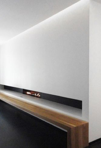 Extra long bench and foreplace. La Suite West hotel in London by Anouska Hempel.