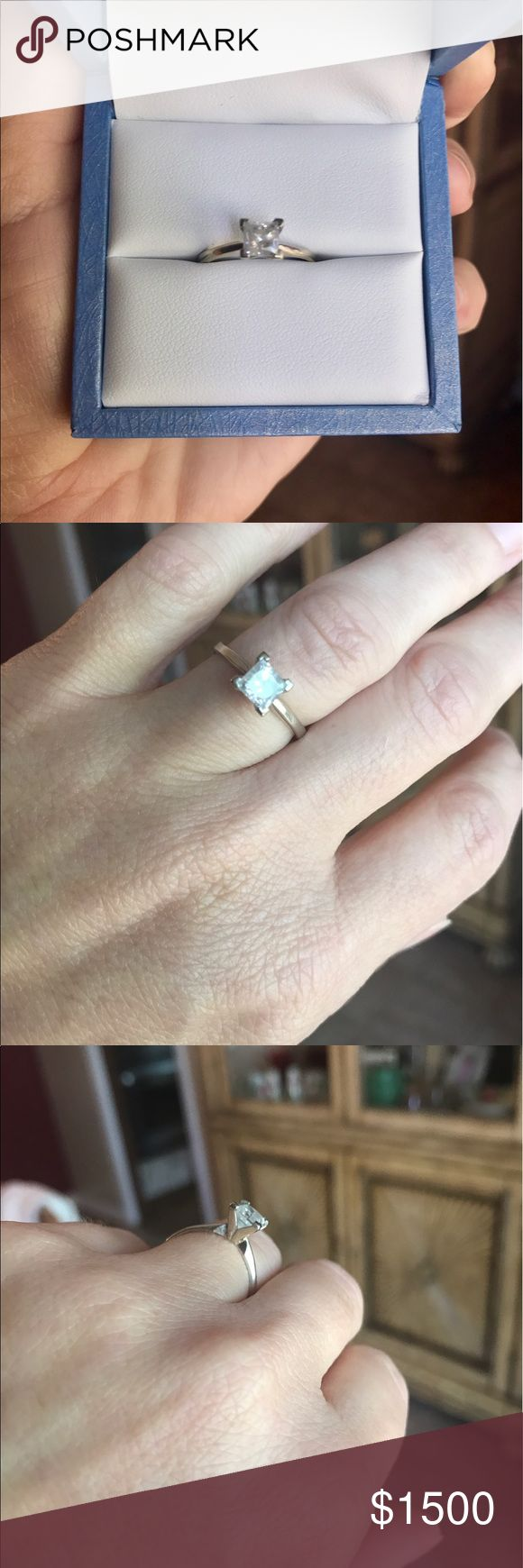 Princess Cut Diamond Solitaire Ring 1 Karat princess cut diamond solitaire ring with appraisal. White Gold size 7 Jewelry Rings