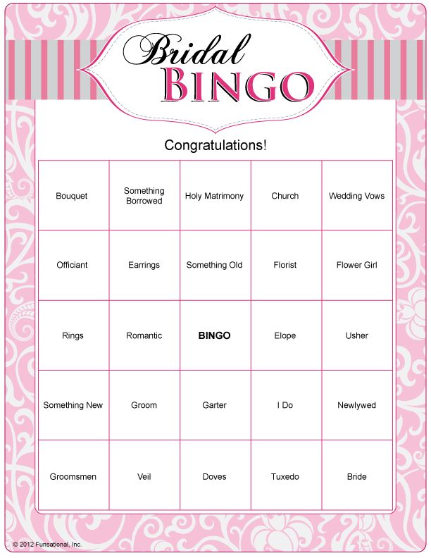 bridal bingo can do with wedding words and just play as game or play during gift opening and have names of gifts on monkeys briduhl showahhhhh