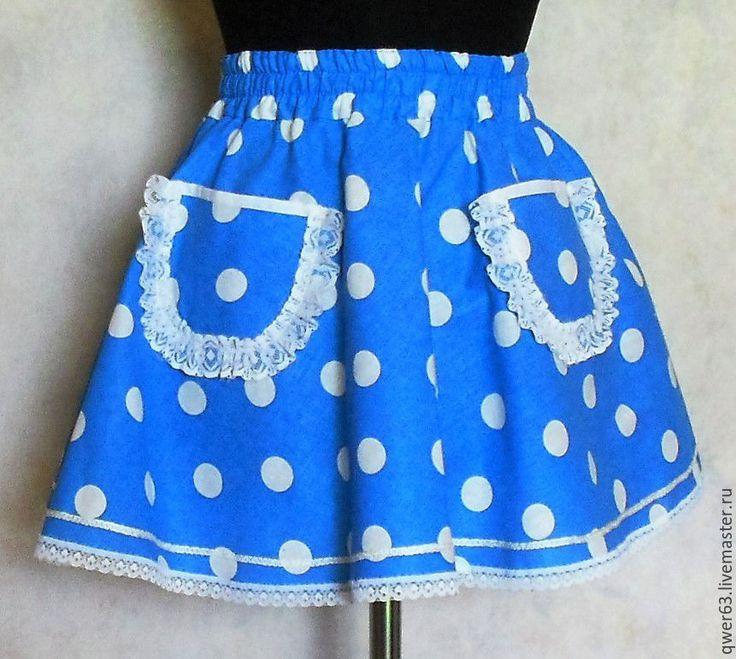 Купить Юбка детская, голубая в горошек, на резинке, из хлопка - голубой, юбка на лето