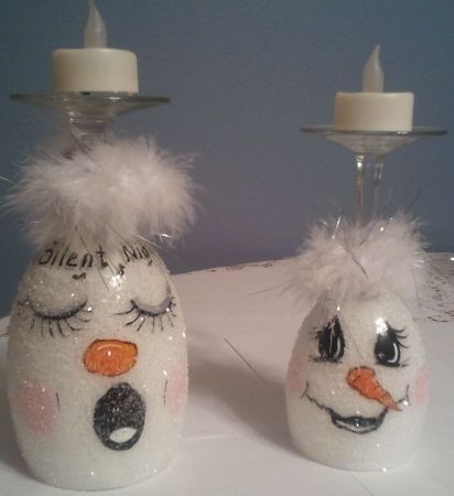 Snowman Glasses With Candle