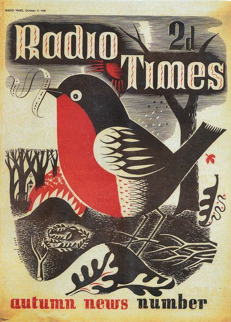 illustration, animal, bird, robin, leaf, nest, tree, design, pattern, naive. Christmas 1938