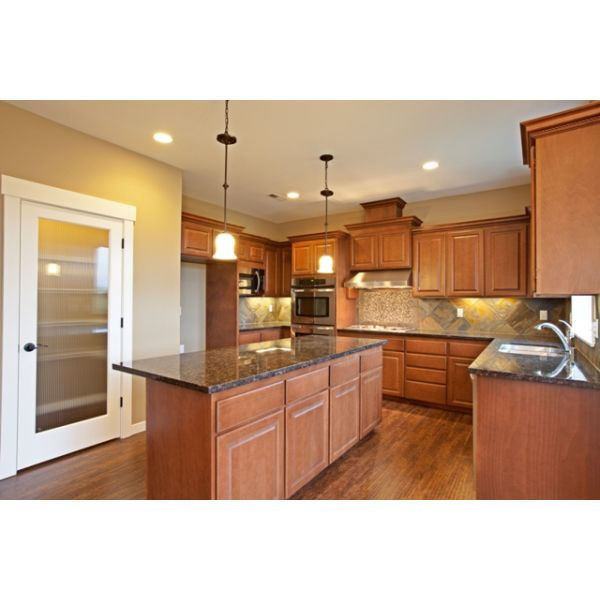 Sapphire Plan Kitchen. 3X6 island, double oven, gas cooktop and large walk in pantry.