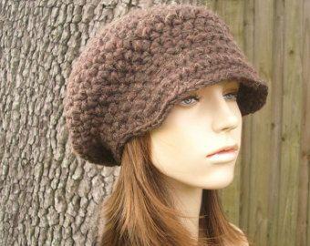 Marrón para mujeres sombrero marrón vendedor de periódicos gorro - sombrero del ganchillo de la sombrero de vendedor de periódicos del ganchillo marrón madera - sombrero marrón marrón para mujer accesorios invierno gorro