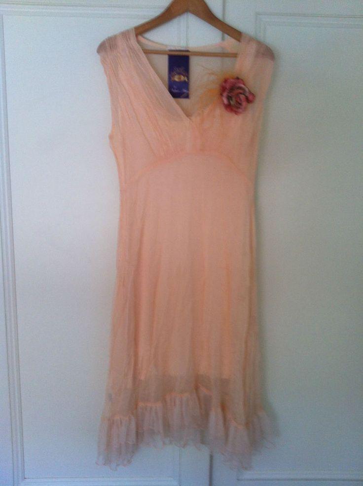 Beautiful Silk Chiffon Apricot Dress w/slip 78% off - 72HR CLICK FRENZY SPECIAL!