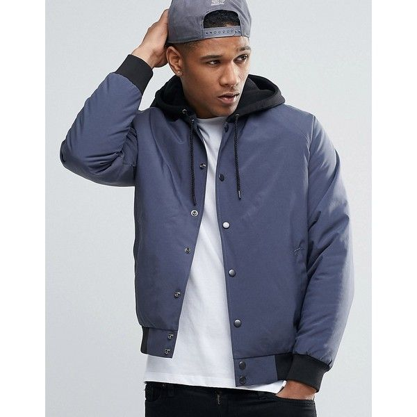 ASOS Bomber Jacket with Jersey Hood (€66) ❤ liked on Polyvore featuring men's fashion, men's clothing, men's outerwear, men's jackets, navy, mens fitted leather jacket, asos mens jackets, mens navy bomber jacket, mens hooded jackets and mens nylon bomber jacket