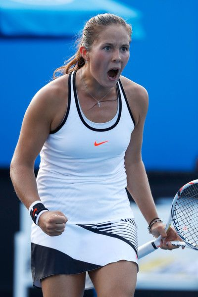 Daria Kasatkina Photos Photos - Daria Kasatkina of Russia celebrates in her first round match against Shuai Peng of China on day one of the 2017 Australian Open at Melbourne Park on January 16, 2017 in Melbourne, Australia. - 2017 Australian Open - Day 1