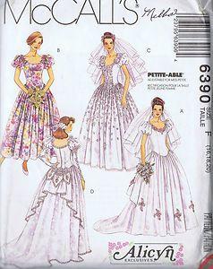 "Bridal Gown Bridesmaid Dresses Sewing Pattern McCalls Bust 38 42 Hip 40 44"" Cut | eBay"