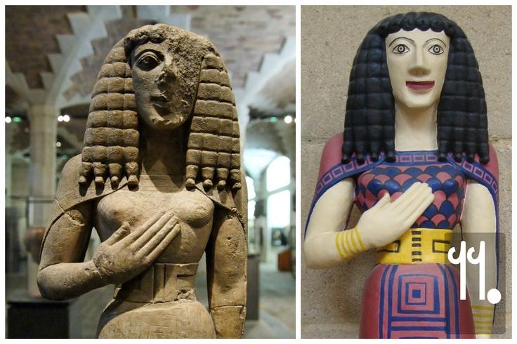 Le origini dello stile arcaico sono probabilmente da cercare a Sud, e in particolare a Creta. Qui, la 'Signora di Auxerre', una statua cretese del 650 BC, in cui si vede chiaramente l'influenza minoica (ad esempio, nella vita sottile) e egiziana (la pettinatura). Quest'arte viene chiamata 'dedalica', dall'inventore e scultore Dedalo, che avrebbe creato, tra le altre cose, i primi robot.
