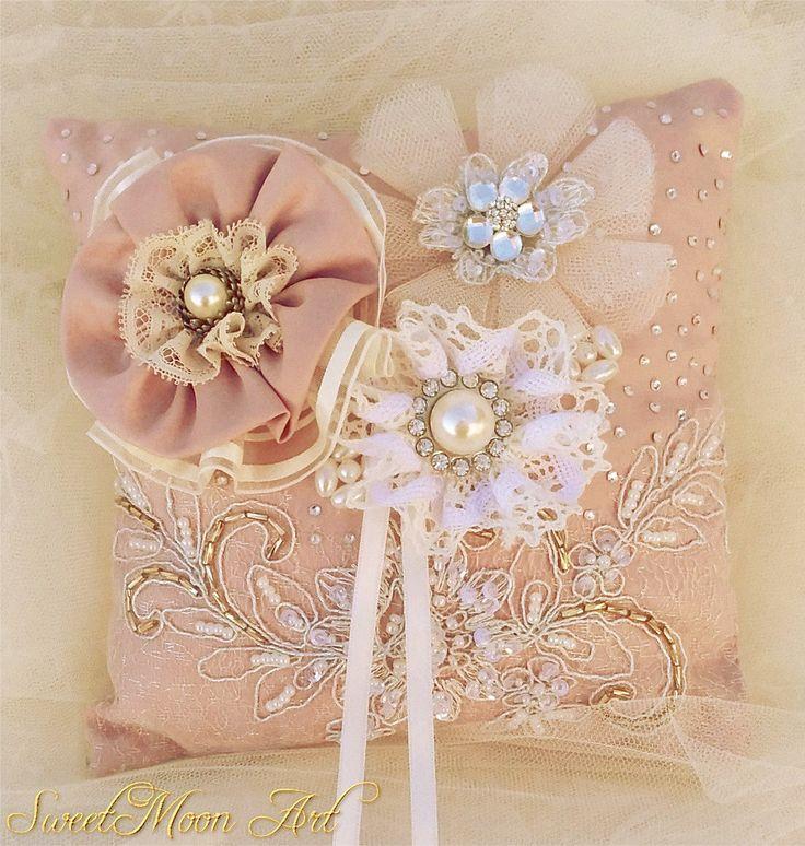 Almohada portadora anillos de boda, almohada boda, cojín anillos para boda, regalo para boda,cojín portador alianzas almohada encaje anillos de SweetMoonArt en Etsy