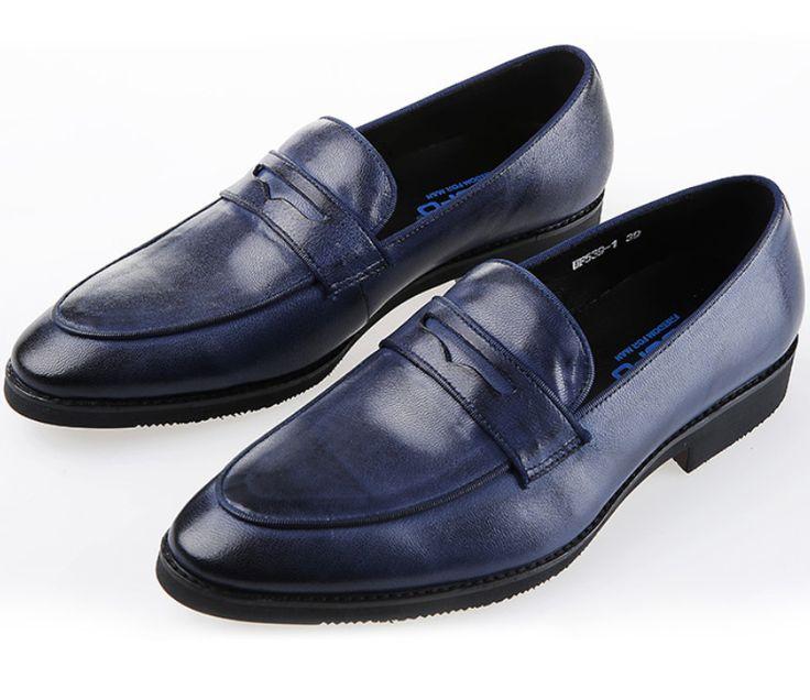 Синие туфли мужские loafer обувь из натуральной кожи мужская повседневная обувь дышащая мужская квартиры уличной обуви