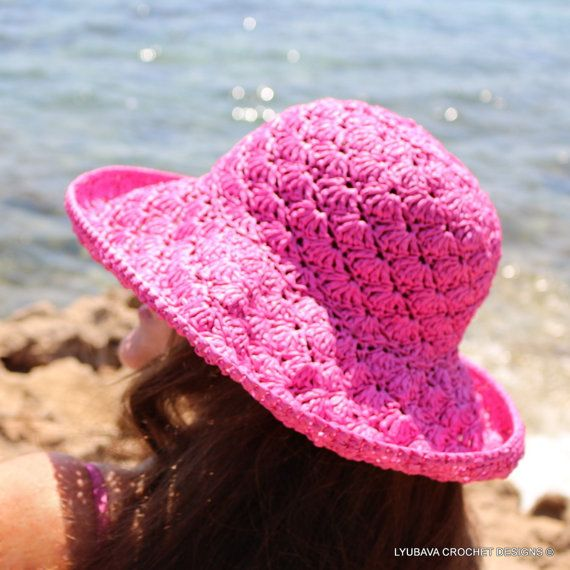 Womens Crochet Summer Hat for sale. Attractive pink color crochet sun hat. Adorable crochet accessory for women for summer time. Super stylish