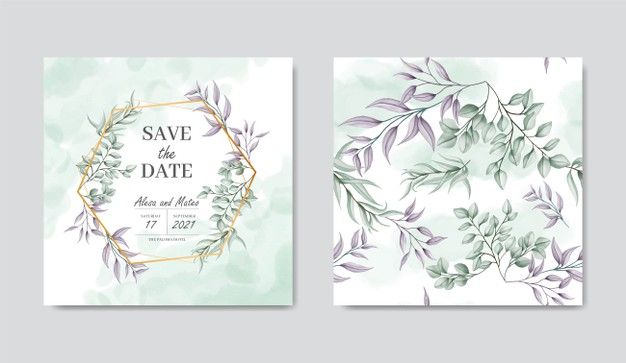 Wedding Invitation Card Template And Seamless Pattern Leaves Set Bundle Wedding Invitation Card Template Wedding Invitation Cards Wedding Invitations