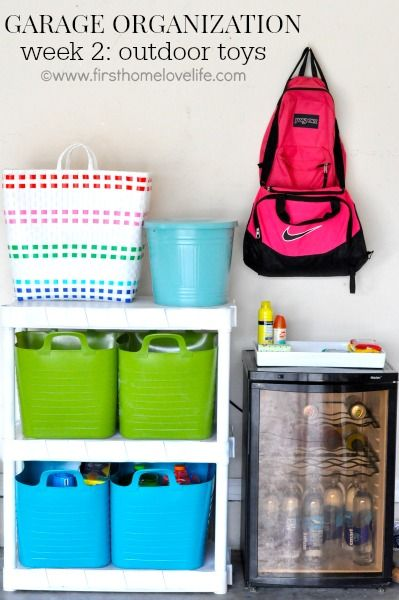 "GARAGE ORGANIZATION SERIES: OUTDOOR TOY STORAGE SOLUTIONS: CREATING A ""KID ZONE"" #organization #kids #garage #storage #organize #clean"