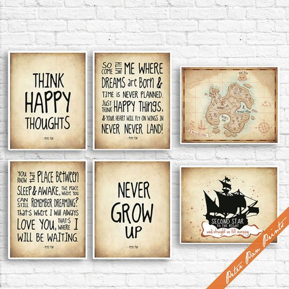 Peter Pan Neverland Quotes and Map (B) - Set of 6 Art Print (Unframed) (Featured in Treasure Map) Peter Pan Prints