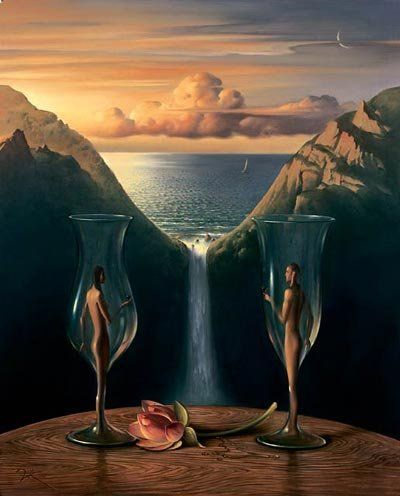 """Looking at these surrealist paintings, you get the impression that Vladimir Kush of Russia must have been highly influenced by artist Salvador Dalí. Vladimir states, """"Art school was a world of a new inspiration. The class I attended allowed total artistic freedom. I learned much about the famous Renaissance painters, impressionists, post-impressionists, and contemporary artists. Here I painted my first surreal picture.""""             courtesy of ziza.es"""