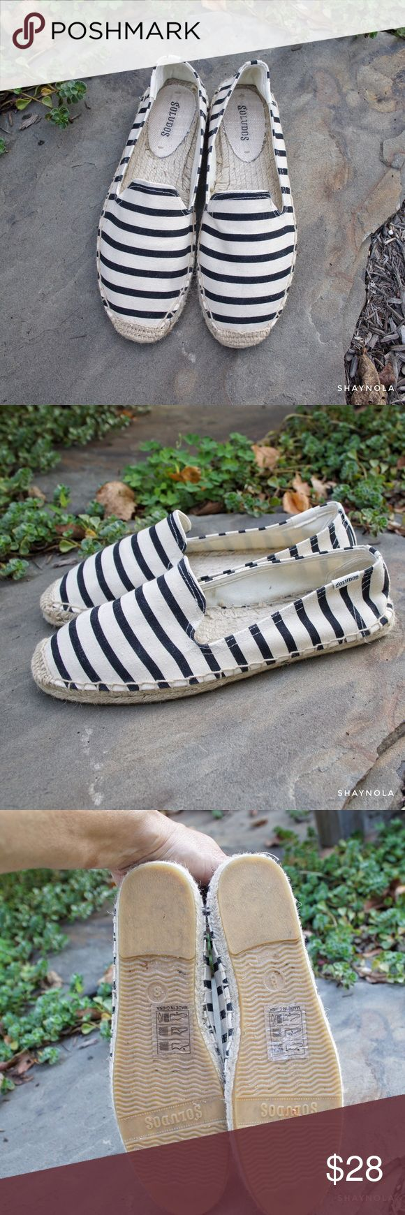 Soludos Original Dali B/W Striped Slipper Original Dali style espadrilles by Soludos in black and cream stripes. Excellent, very lightly worn condition. Size 8. Note: I am between a 7.5 and 8 and these fit me. Soludos Shoes Espadrilles