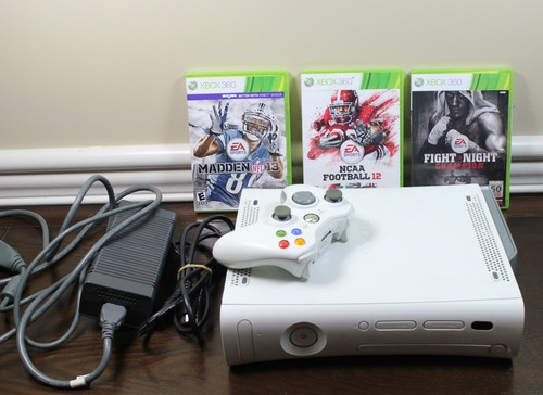 Xbox 360 Console Controller Lot w 3 Games Madden NFL 13 Fight Night Champion | eBay