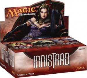 """""""Magic: the Gathering: Innistrad Booster Box (36 Packs) Factory Sealed MTG"""". The Innistrad set contains 264 cards (107 common, 67 uncommon, 59 rare, 16 mythic rare, and 15 basic land)."""