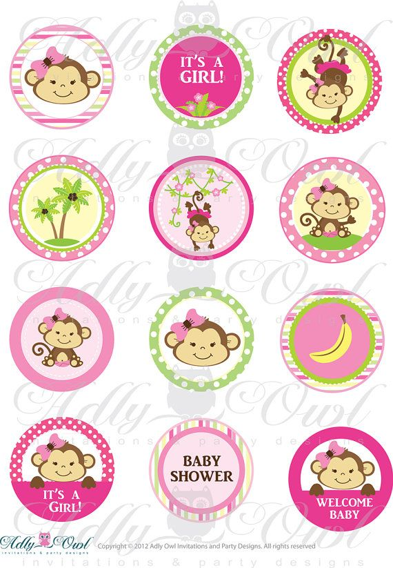 Pink Girl Monkey Baby Shower Cupcake Toppers or Favor Tags ...