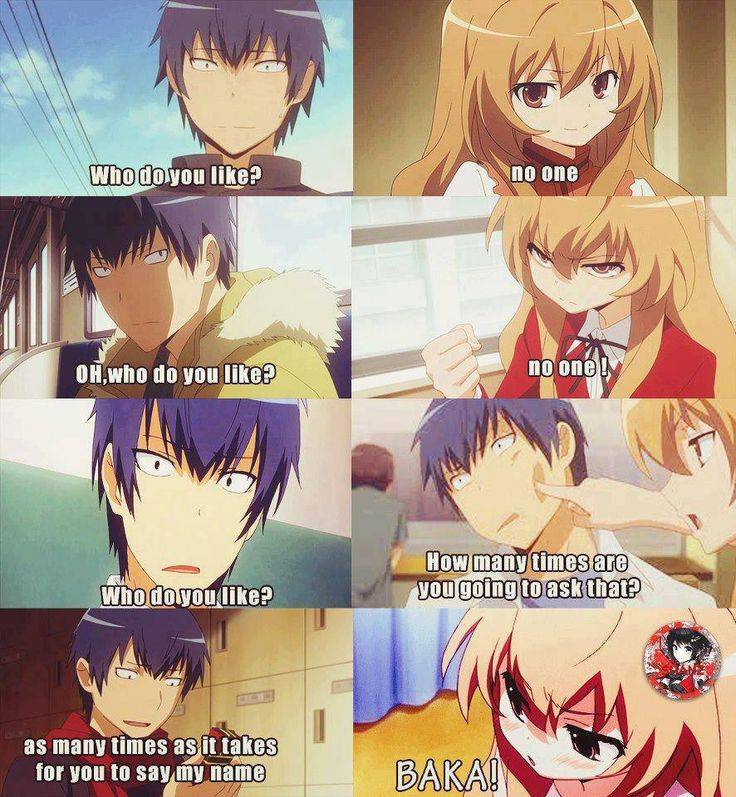Toradora! - Ryuuji and Taiga.... So cute. A real guy would never think of saying something like that... Forever alone T___T