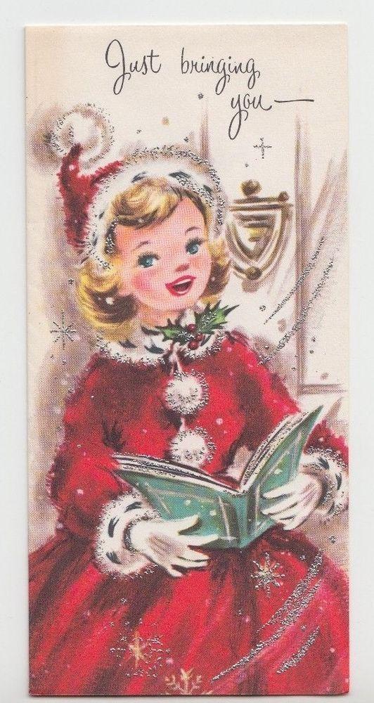 Sweet Little Lady in Red Singing Carols, Vintage Christmas Greeting Card!