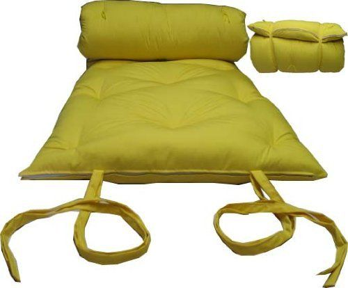 """Brand New Yellow Traditional Japanese Floor Futon Mattresses, Foldable Cushion Mats, Yoga, Meditaion. by A Futon Furniture. $75.00. Mattress sized 3"""" thick x 30"""" wide x 80"""" long.. Color: Solid Yellow.. Filled with 100% white cotton.. Brand new floor futon mattress, made in USA.. Cover material is made of 100% polyester.. This traditional Japanese futon mattress is made of cotton batting and able to be rolled up to keep in closet and rolled out right on the floor to sleep on...."""