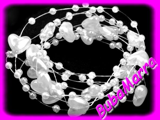 ~Perličky+na+silonu~+svatební+srdíčka+Ø10+~+bílá+Perličky+ve+tvaru+kuliček+a+srdíček+na+silonu+o+průměru+10+mm+pro+vaše+dekorace.+Celková+délka+řetězu+je+1,3+m.+Můžete+jej+použít+jako+svatební+dekoraci,+na+valentýnský+stůl+či+na+narozeninové+párty.+Řetězy+jsou+k+dostání+v+jemných+a+romantických+barvách+-+světle+fialová,+růžová,+vanilková,+červená+a+...