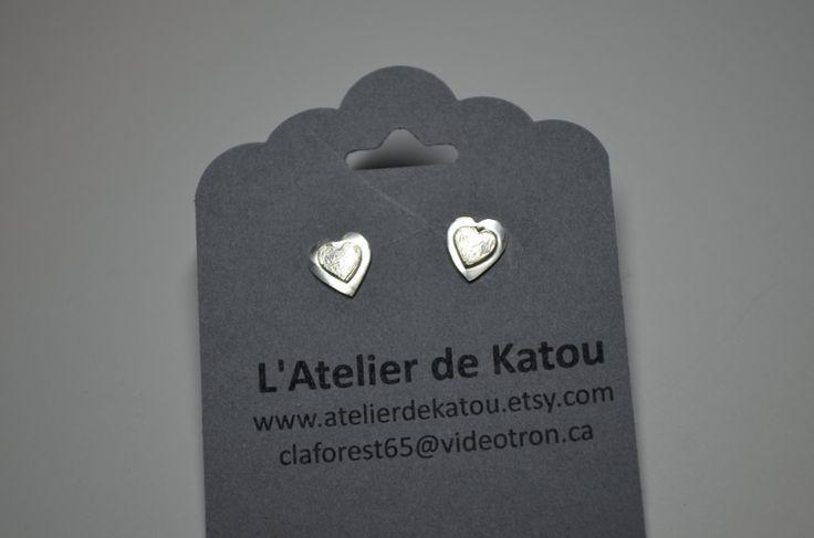 boucles d'oreille coeur délicat en argent sterling by Atelierdekatou on Etsy