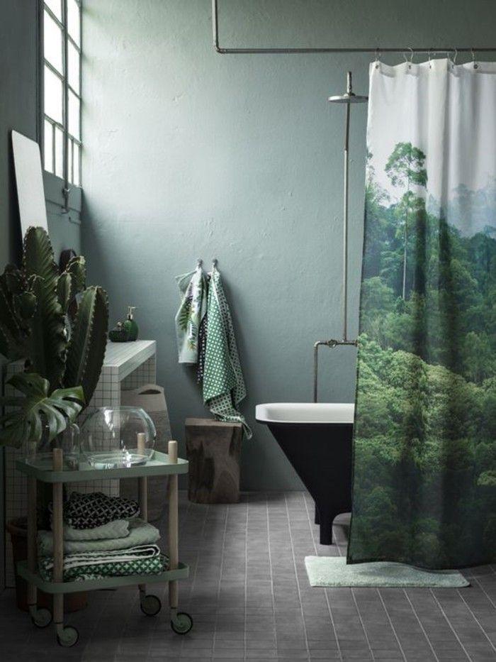 Frisches Badezimmer Interieur In Grun Graue Bodenfliesen Badezimmer Grun Wohnen Fliesen Design