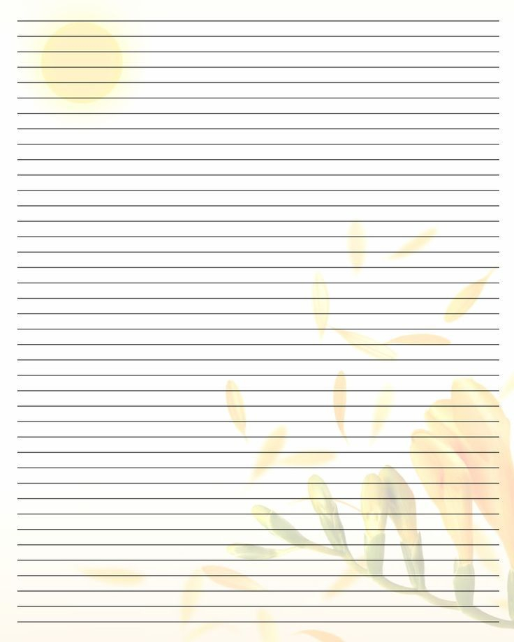 printable lined stationary with sun and honeysuckle Printable - printing on lined paper