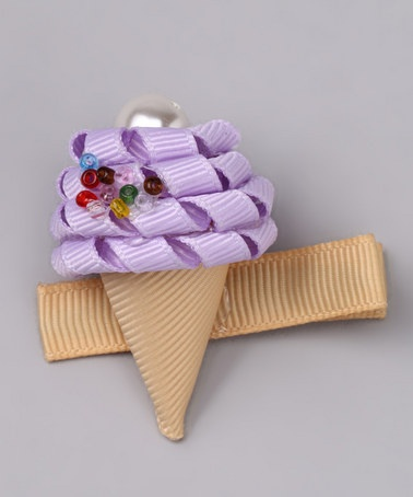 Take a look at this Purple Ice Cream Clip by Sweet Treat Bows on #zulily today!