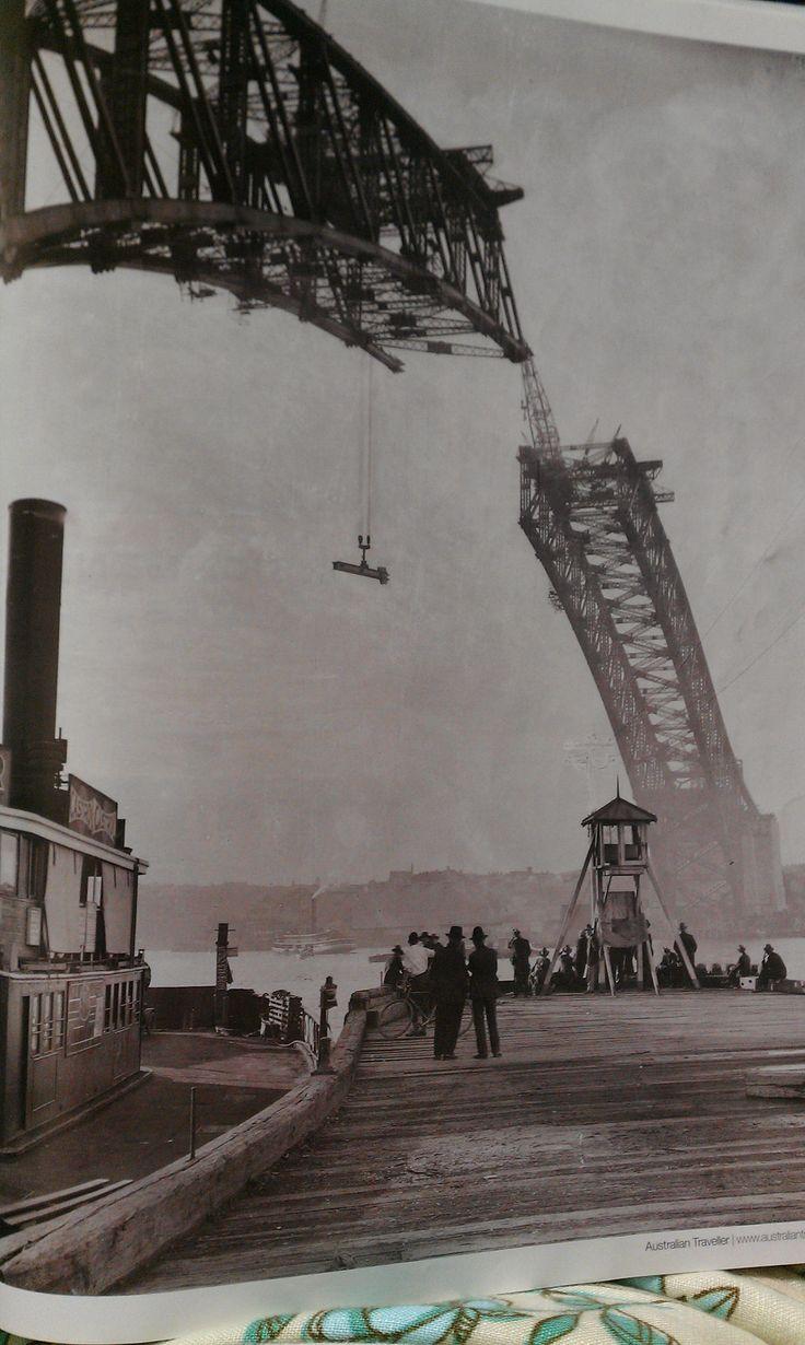 Construction of the Sydney Harbor bridge from Australian Traveler magazine. #Australia