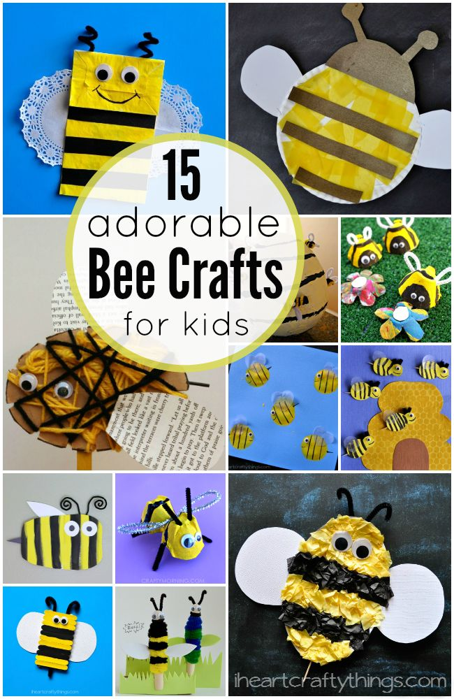 15 Adorable Bee Crafts for Kids featured on iheartcraftythings.com.