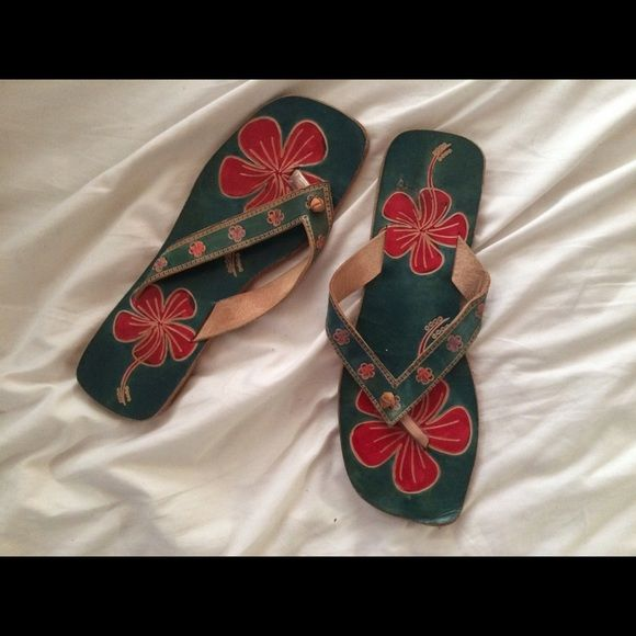 Genuine Leather Hawaiian Flip Flop Sandals BOHO Beautiful Boho Flip flops.  Genuine leather.  Size is 8.  Bundle & save!!! Lakhay's Shoes Sandals