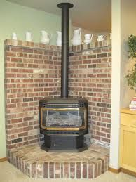 Image result for wood stove brick surround