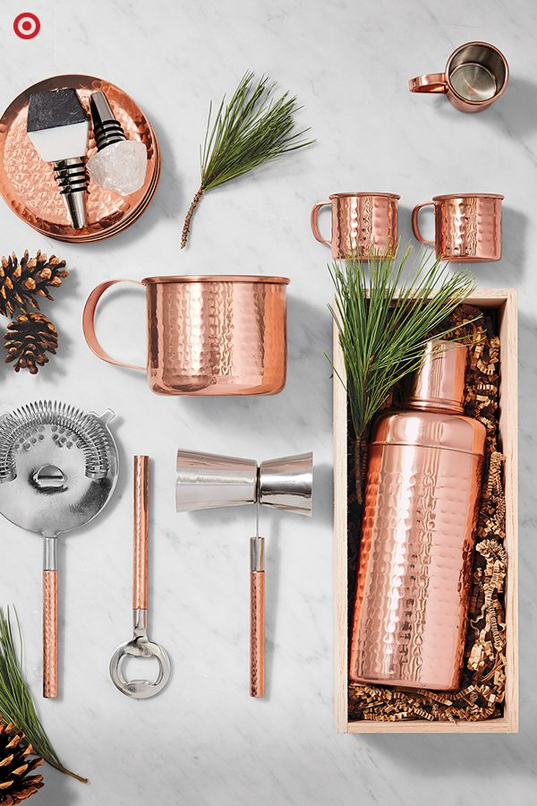A Christmas gift for your favorite host? A barware set that is as beautiful as it is durable. Perfect for holiday parties and gatherings, this copper barware features a classic design with upscale, hand-hammered detailing. Find all the tools necessary to stock the bar, like mugs, shakers, strainers bottle openers and mugs. All are great for year-round entertaining.