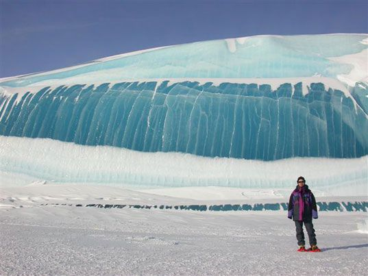"""""""Ice wave"""" caused by glaciation, the melting and re-freezing of ice formations over long periods of time. photo by scientist Tony Travouillon."""