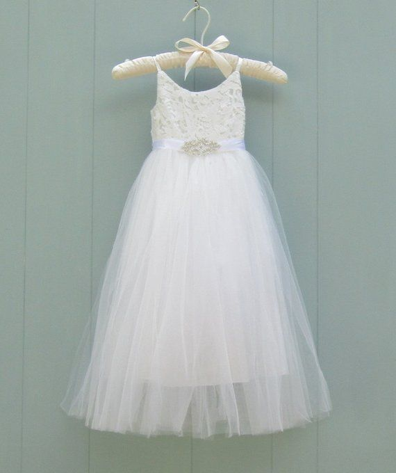 3a9c872bb3f White flower girl dress lace dress White tutu dress Wedding dress Long flower  girl dress Junior bridesmaid formal couture style communion
