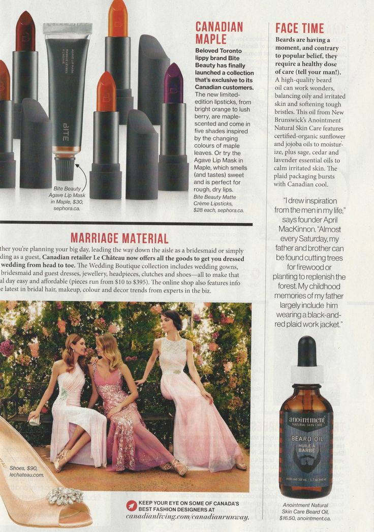 Anointment Beard Oil featured in July 2015 Issue of Canadian Living.
