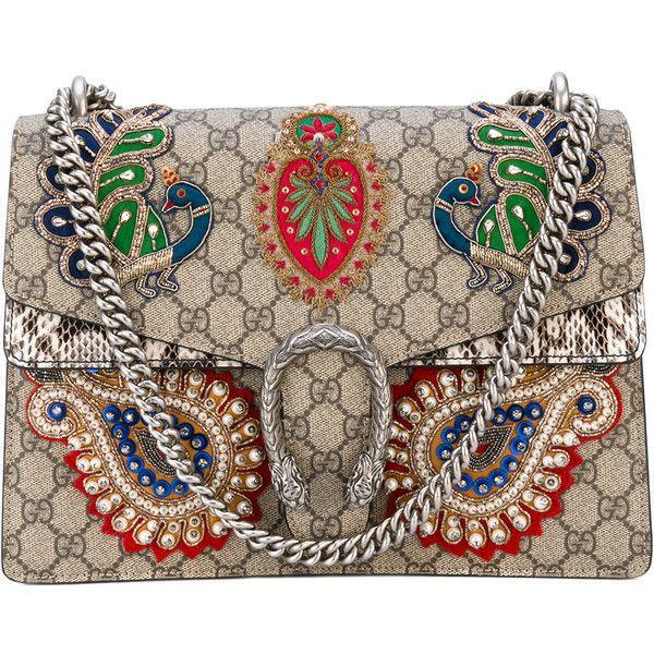 "Gucci ""Dionysus"" Bag (14.580 BRL) ❤ liked on Polyvore featuring bags, handbags, shoulder bags, brown, gucci purse, metallic handbags, genuine leather handbags, beaded purse and genuine leather shoulder bag"