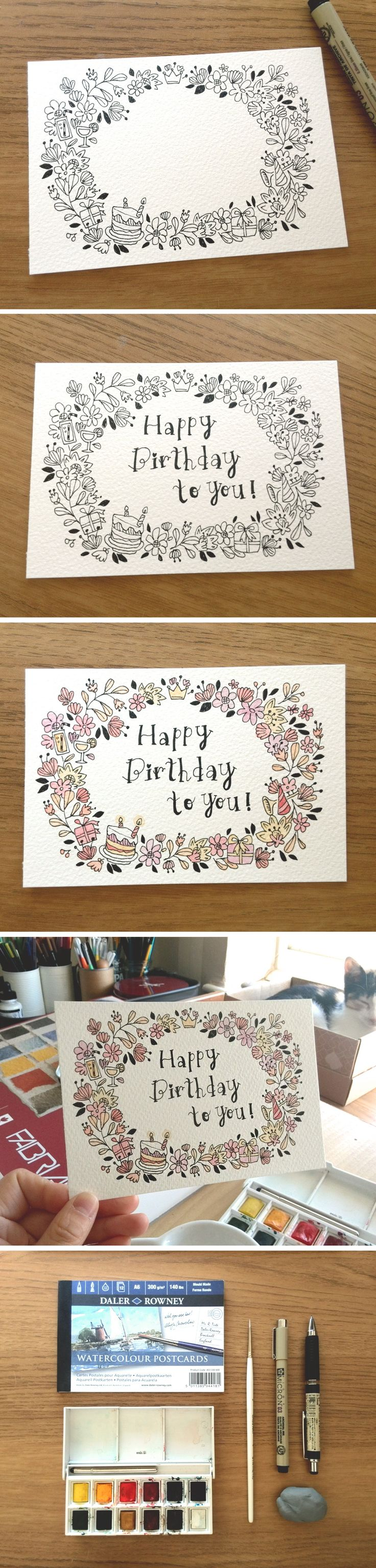I made a birthday card today by using these wonderful small size water  colour post cards pad. Just paint, write then ready to go!