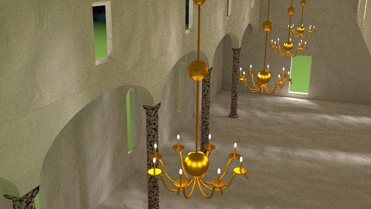 All light in this image is from the 32 little lamps in the chandeliers. The lamps do not look good because they actually emit light; this must be redone so that there's a tiny but powerful light source inside the lamp.