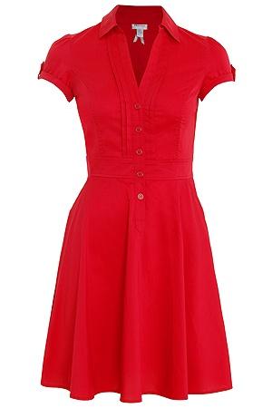 Red flare poplin dress, $39.90 at Dynamite