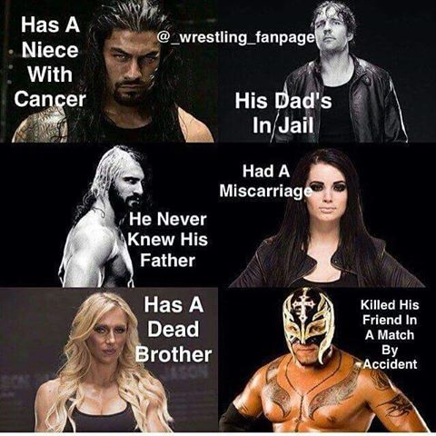 Roman reigns, dean Ambrose,Seth Rollins, Paige, Charlotte, Rey Mysterio (I think)