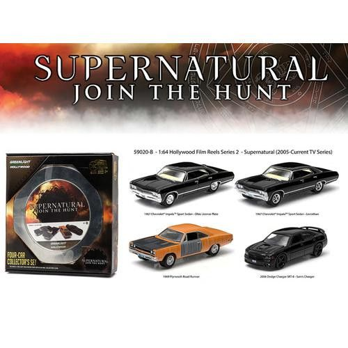 """Hollywood Film Reels Series 2 """"Supernatural"""" 4 Cars Pack (2005 Current TV Series) 1/64 Diecast Car Models by Greenlight"""