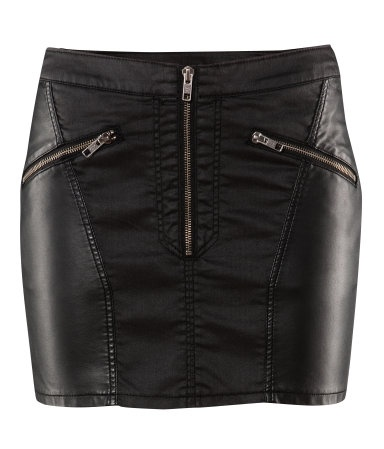 Waxed twill and Pleather miniskirt, H&M.  $24.95
