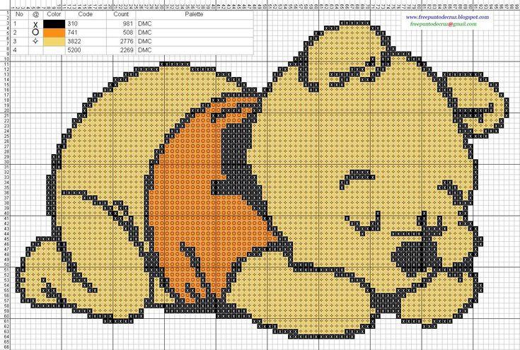Dibujos Punto de Cruz Gratis: Winnie Pooh bebe Baby - Cross Stitch Punto de cruz